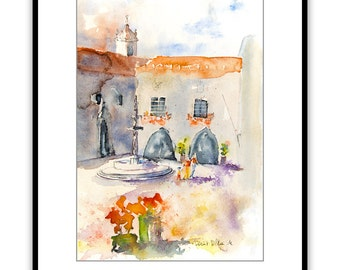 """Original watercolor of a town square in Portugal, Original painting of houses in Portugal, portuguese village watercolour - 10"""" x 13,4"""""""