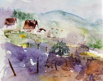 """Original  watercolor of a french landscape with farms cows and trees - original landscape painting in France, meadows and farms - 9,8 x 9,8"""""""