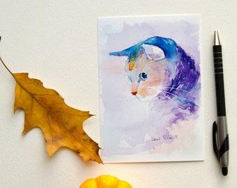 Blue cat postcard, print postcard - black friday