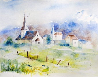 "Original painting of a swiss village with church and houses - original watercolor of Rougemont in Switzerland - 12"" x 15,8"""