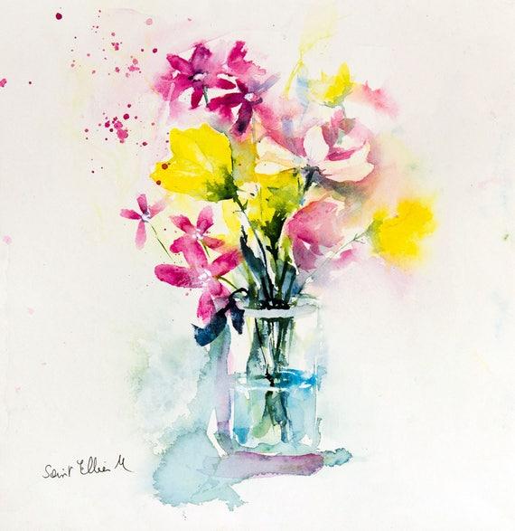 aquarelle bouquet de fleurs des champs dans un vase peinture etsy. Black Bedroom Furniture Sets. Home Design Ideas