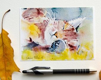 Sleeping cat postcard, print postcard-