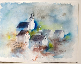 Small village in Alsace  original watercolor, French village watercolour,Original painting, watercolour from France