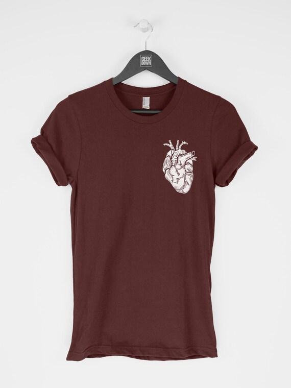 Anatomical Heart t shirt tee fashion t shirt men's tee women's tee gift for her gift for him love heart pocket t shirt