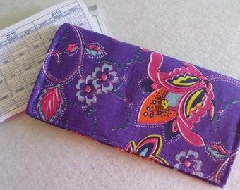 Fabric Checkbook Cover Orange Coupon Keeper Orange Wallet Womens Checkbook Holder Washable Checkbook Cover Gift for Mom Gift for Grandma