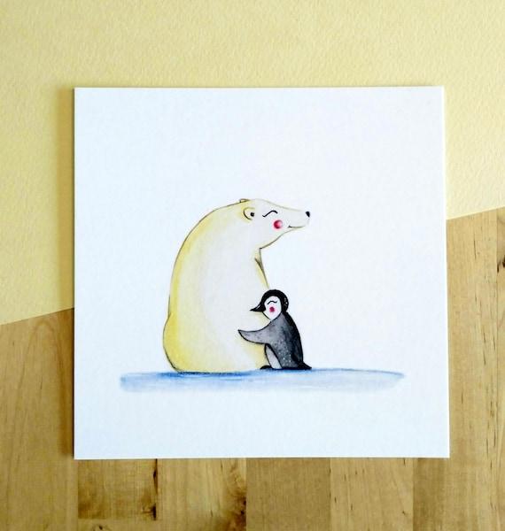 Ilustración Oso Polar & Pingüino | Etsy
