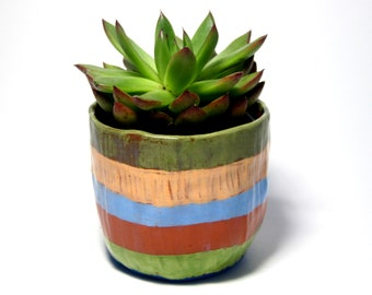 Colorful Striped Ceramic Planter//Clay Planter/Great gift for plant lovers/Cute and Clay