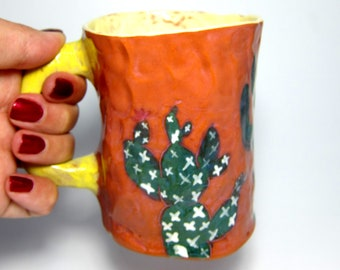 Cactus Ceramic Mug //Pinched handmade mug //Perfect gift for him or her //Cute And Clay
