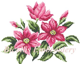 Machine Embroidery Clematis, Cross stitch Clematis