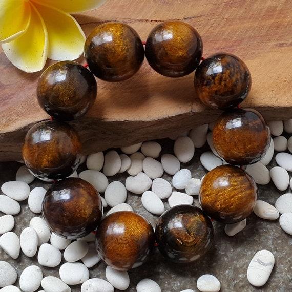Genuine Golden Black Coral Sea Willow Bracelet Beads 10 mm