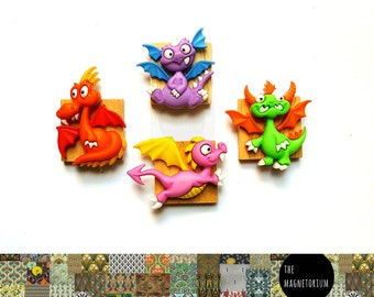 Dragon Magnets, Fridge Magnet, Magnet, Kitchen Magnet, Refrigerator Magnet, Teacher Planner, Office Decor, To Do List, Weekly Planner, Gift