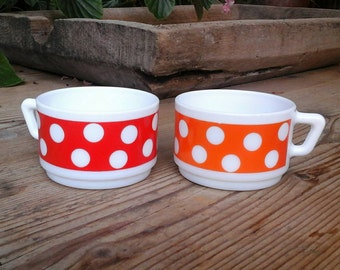 Two vintage Arcopal breakfast / French / vintage / 1970 / bowl.