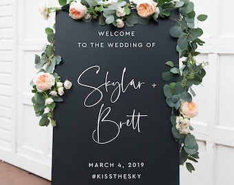 Welcome Wedding Sign, Personalized Welcome Wedding Sign, Personalized Wedding Sign, Reception Welcome Sign, Welcome Sign for Wedding, 05A