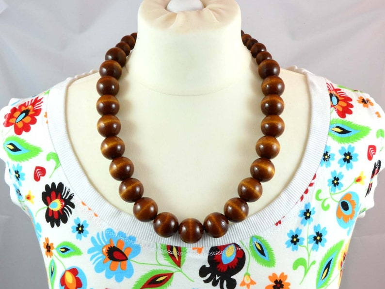 RED PINK CHERRY wooden necklace chunky orange wooden necklace classic beaded necklace wooden beads necklace red statement necklace
