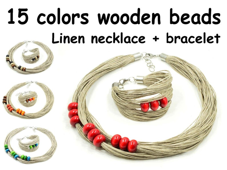 linen necklace with wooden beads NATURAL Linen set jewelry choose wooden beads linen bracelet unique gift for mom,multistrand necklace