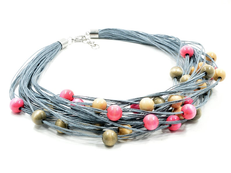red multi-thread colier linen bracelet beads linen necklace bib necklace a set of jewelry from the thread impressive necklace black