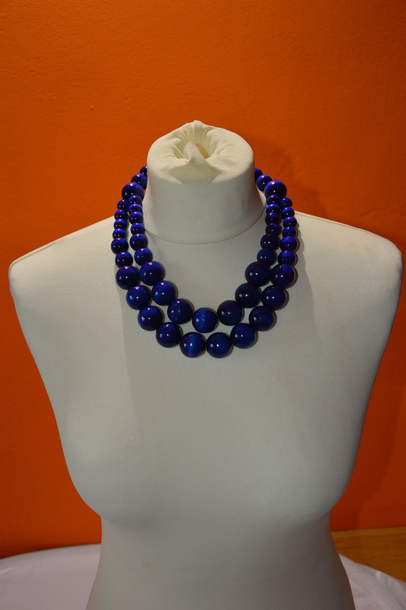 BLUE layered beaded necklace BLUE wooden necklace chunky orange wooden necklace statement necklace BLUE wooden beads necklace