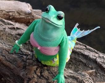 Mermaid Frog, poseable OOAK art doll