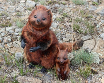 Quokka with a baby — Poseable art dolls OOAK