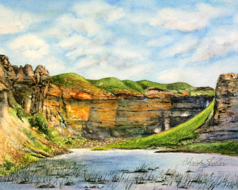 Rock City Riverscape Original Watercolor Painting Montana image 0