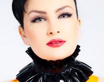 Baroness Latex Ruffle Collar, one-coloured