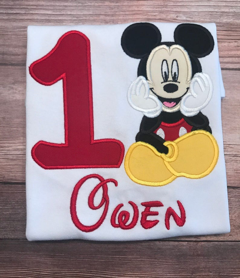 Disney Inspired Mickey Mouse Birthday Shirt Numbers 1 9 Personalized Embroidered