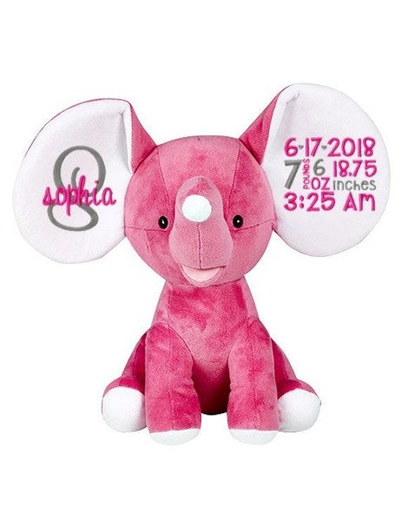 Embroidered Stuffed Elephanthot Pink Stuffed Animal Baby Etsy