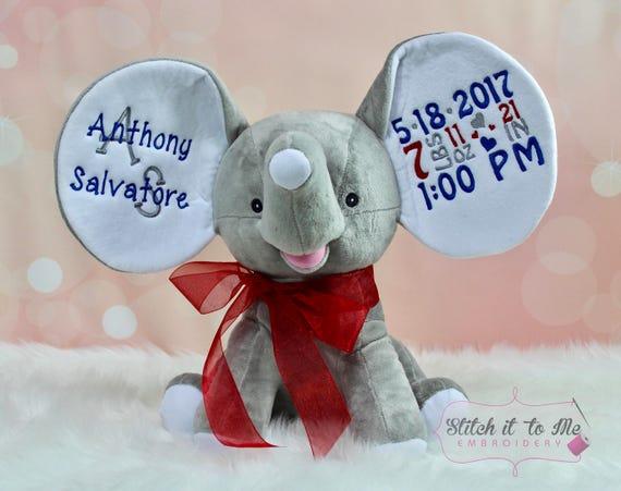 Embroidered Stuffed Elephantgrey Stuffed Animal Baby Etsy