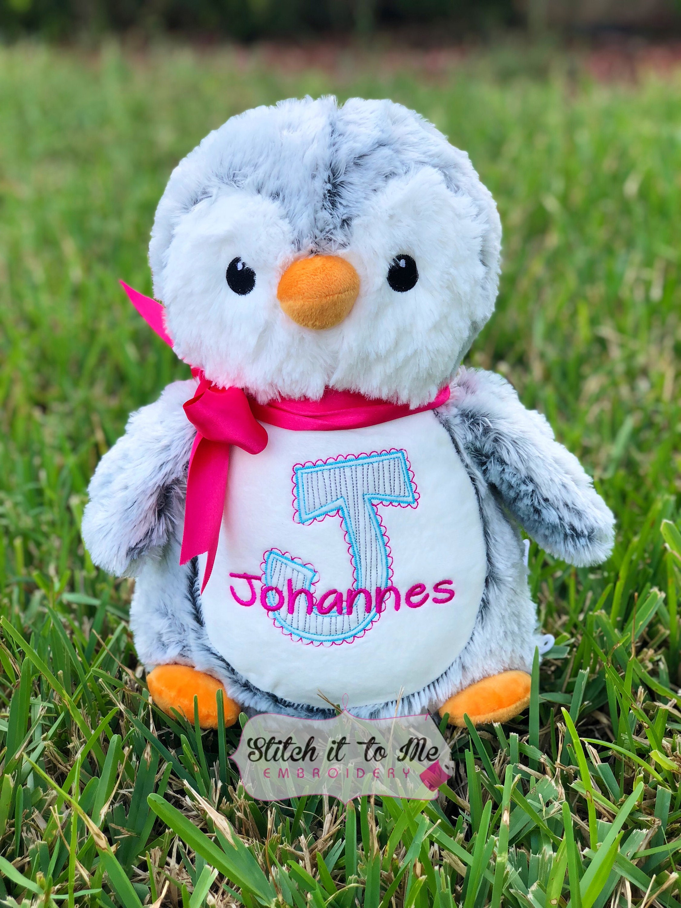 Embroidered Penguin Stuffed Penguin Personalized Penguin Etsy