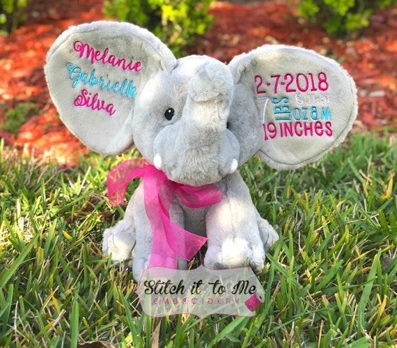 Embroidered Stuffed Elephant Grey Elephant Stuffed Animal Etsy