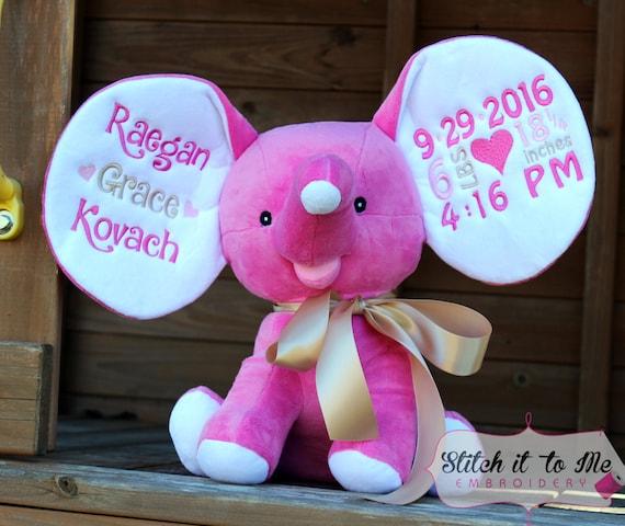 Embroidered Stuffed Elephant Hot Pink Stuffed Animal Baby Etsy