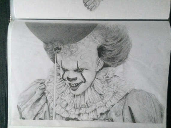 Pennywise original pencil portrait A4 drawing | Etsy