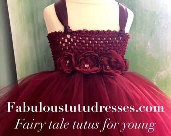 Burgundy Tutu Party Flower Girl Dress Bridesmaid BridalWear Wine Deep Red