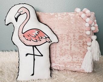 Flamingo Plush Pillow | Black Minky