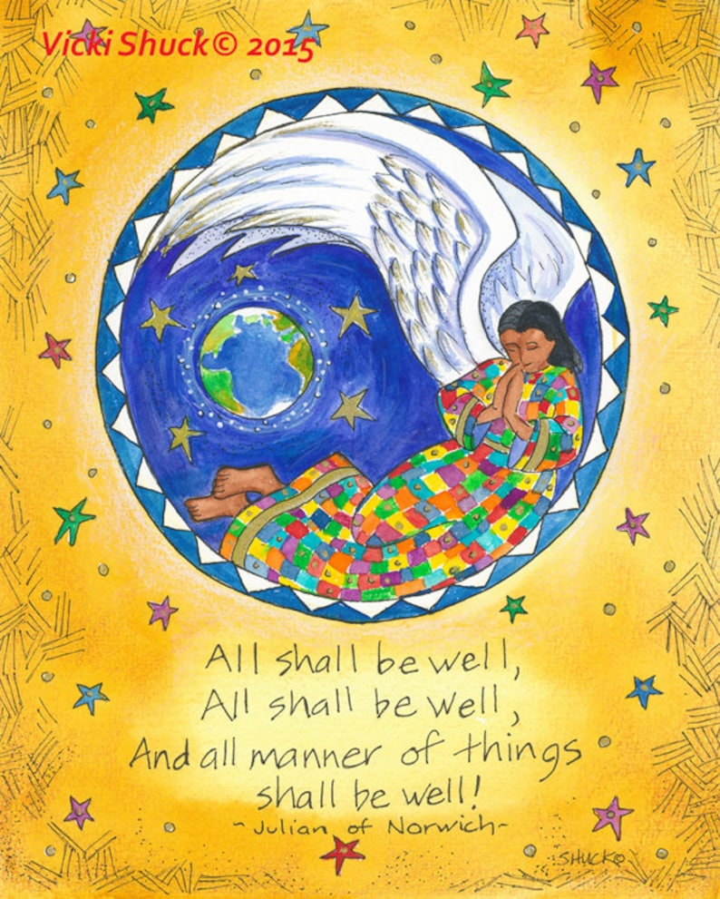 All Shall Be Well Art Print Julian of Norwich inspirational image 0