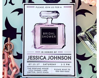 Chanel invitations etsy smells like chanel chanel perfume inspired printable bridal shower invitation filmwisefo