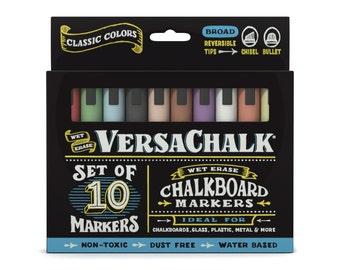 Chalk Marker Bold Set (10 Classic Colors) - Erasable Chalk Pens for Chalkboard Signs, Wedding Chalkboards, Glass, Metal, Plastic & Ceramic