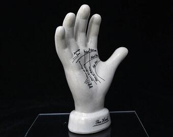"""Palmistry Hand Porcelain-9.75""""-Pseudoscience-Palmistry-Palm reading-Fortune teller-Psychic-Palm Reading-Office Decor-Palmistry Scu"""