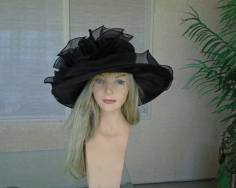 black Kentucky derby hat church hat wedding hat funeral hat 4f54575773c
