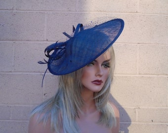 a00d5a4e1c026 Items similar to Navy Blue Fascinator Blue Fascinator Navy Feather ...