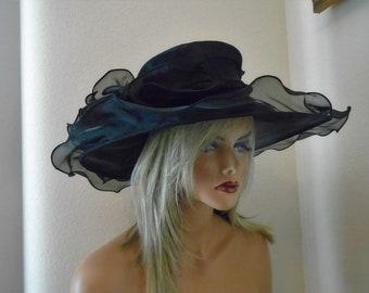 black Kentucky derby hat church hat wedding hat funeral hat