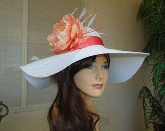Coral Kentucky derby hat