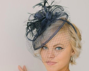 Navy Fascinator with veil 7a52747c491