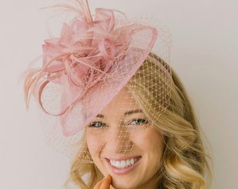 13333a83ce049 Blush Pink Fascinator