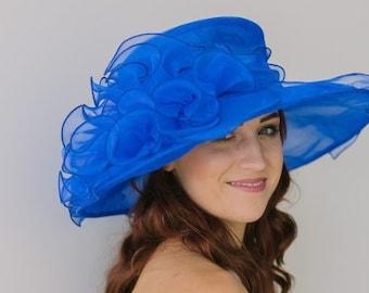 royal blue oranza Kentucky Derby Hat c5b33276199