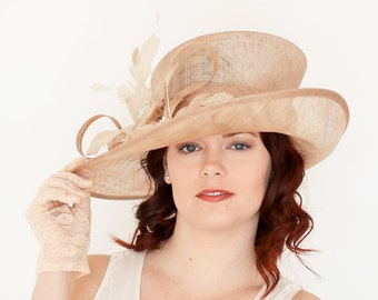 """Nude Beige Kentucky Derby Hat, Fits up to 22.5"""" and smaller w/ internal elastic tie, Church hat, High Tea Party Hat, Derby Hat, Fancy Hat,"""