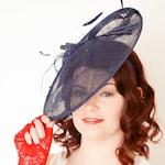 Navy Blue Fascinator Derby Hat, Tea Party Hat, Church Hat, Derby Hat, Fancy Hat, Royal Hat, Tea Party Hat, wedding hat