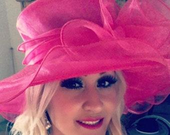 Pink Kentucky Derby Hat, Church hat, Tea Party Hat, Pink Hat, Formal Hat, Fashion Hat, Church Hat, Derby Hat