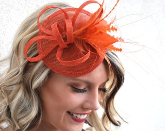 d754c09dd64d7 The Haleigh Burnt Orange Fascinator