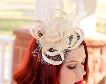 Fascinator ivory Moir\u00e9 with wedding party